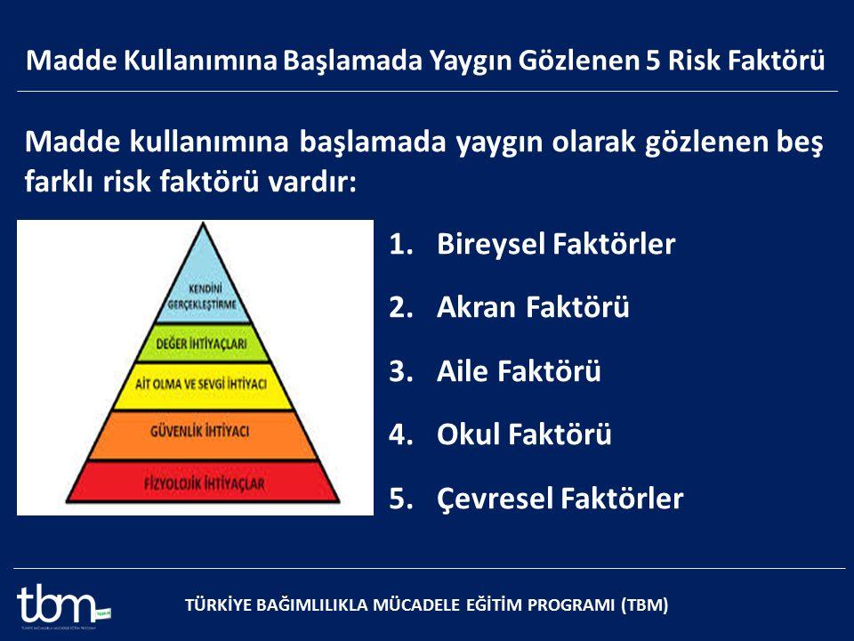 Madde kullanımına başlamada yaygın olarak gözlenen beş farklı risk faktörü vardır: 1.Bireysel Faktörler 2.Akran Faktörü 3.Aile Faktörü 4.Okul Faktörü