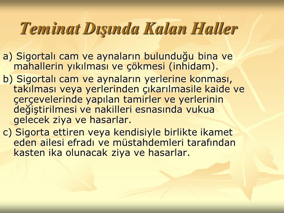 Teminat Dışında Kalan Haller a) Sigortalı cam ve aynaların bulunduğu bina ve mahallerin yıkılması ve çökmesi (inhidam).