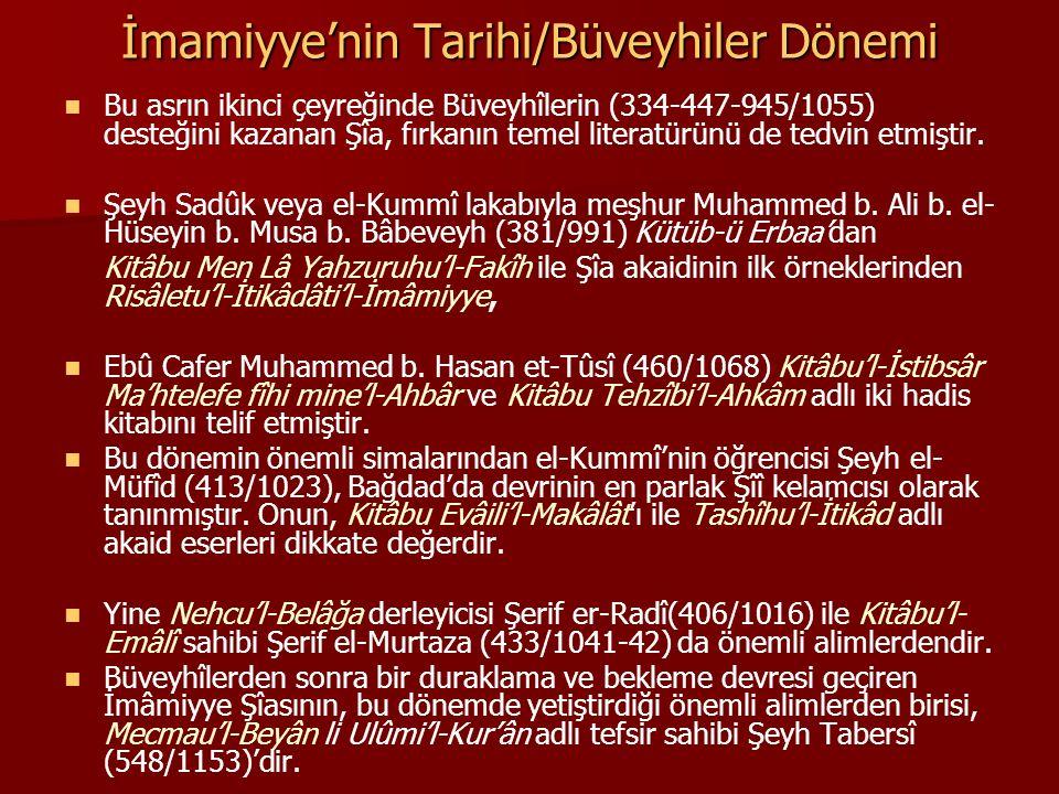 İmamiyye'nin Tarihi/Büveyhiler Dönemi Bu asrın ikinci çeyreğinde Büveyhîlerin (334-447-945/1055) desteğini kazanan Şîa, fırkanın temel literatürünü de