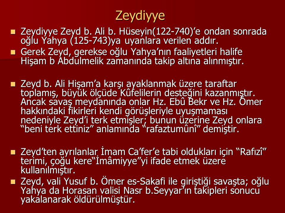 Zeydiyye Zeydiyye Zeyd b. Ali b. Hüseyin(122-740)'e ondan sonrada oğlu Yahya (125-743)ya uyanlara verilen addır. Zeydiyye Zeyd b. Ali b. Hüseyin(122-7
