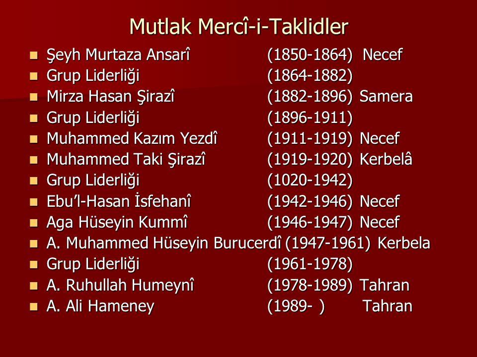 Mutlak Mercî-i-Taklidler Şeyh Murtaza Ansarî (1850-1864)Necef Şeyh Murtaza Ansarî (1850-1864)Necef Grup Liderliği(1864-1882) Grup Liderliği(1864-1882)