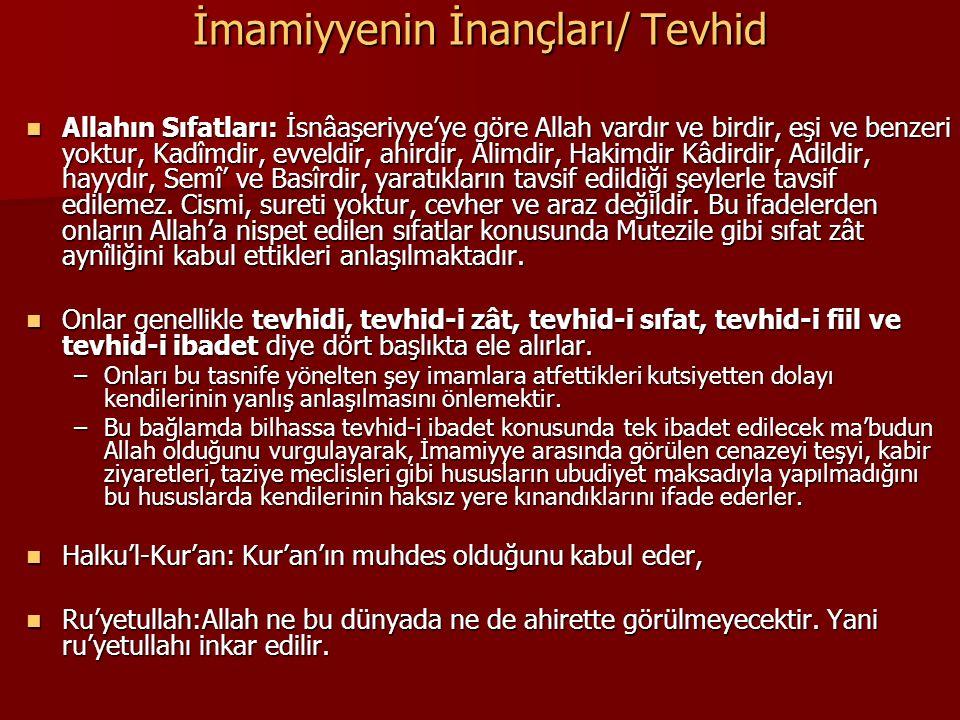 İmamiyyenin İnançları/ Tevhid Allahın Sıfatları: İsnâaşeriyye'ye göre Allah vardır ve birdir, eşi ve benzeri yoktur, Kadîmdir, evveldir, ahirdir, Alim