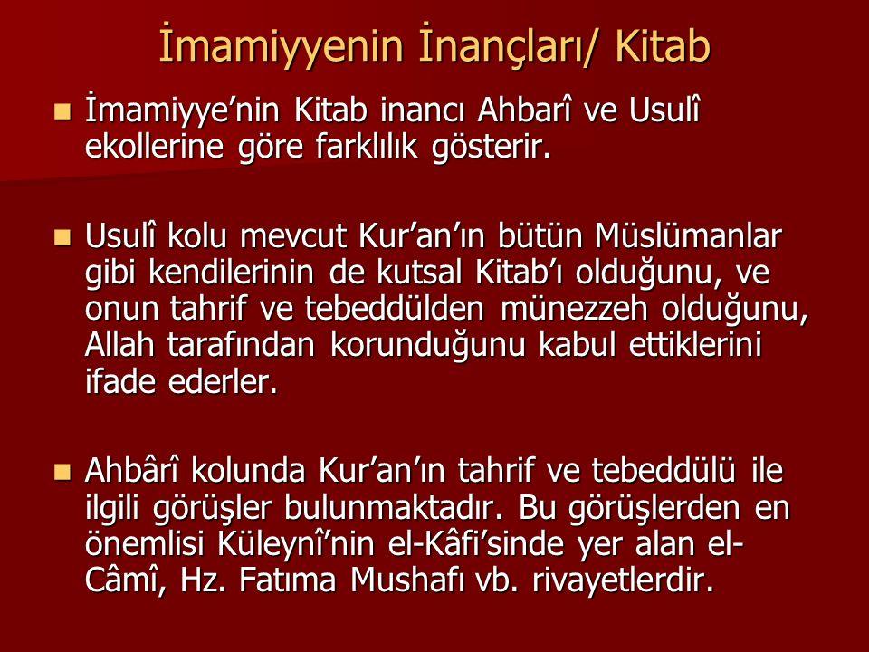 İmamiyyenin İnançları/ Kitab İmamiyye'nin Kitab inancı Ahbarî ve Usulî ekollerine göre farklılık gösterir. İmamiyye'nin Kitab inancı Ahbarî ve Usulî e