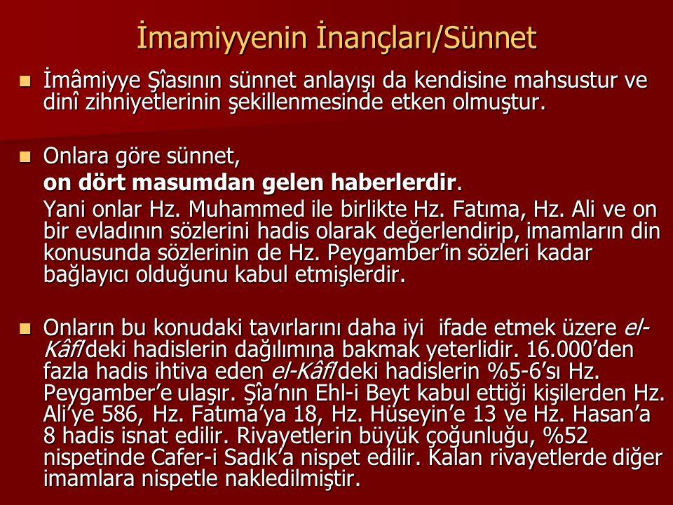 İmamiyyenin İnançları/Sünnet İmâmiyye Şîasının sünnet anlayışı da kendisine mahsustur ve dinî zihniyetlerinin şekillenmesinde etken olmuştur. İmâmiyye