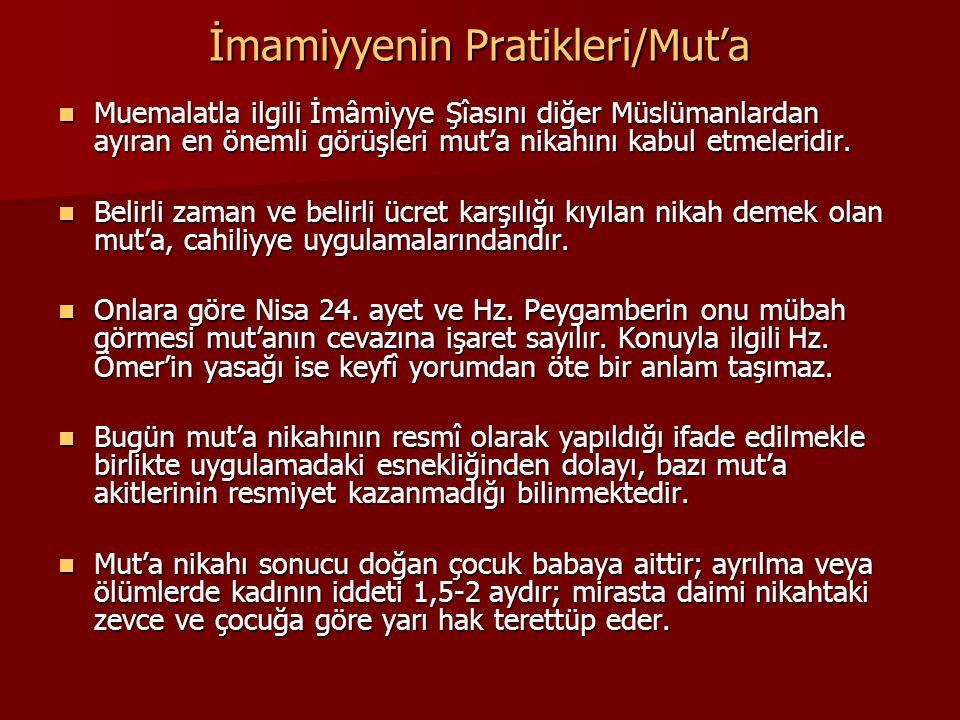 İmamiyyenin Pratikleri/Mut'a Muemalatla ilgili İmâmiyye Şîasını diğer Müslümanlardan ayıran en önemli görüşleri mut'a nikahını kabul etmeleridir. Muem