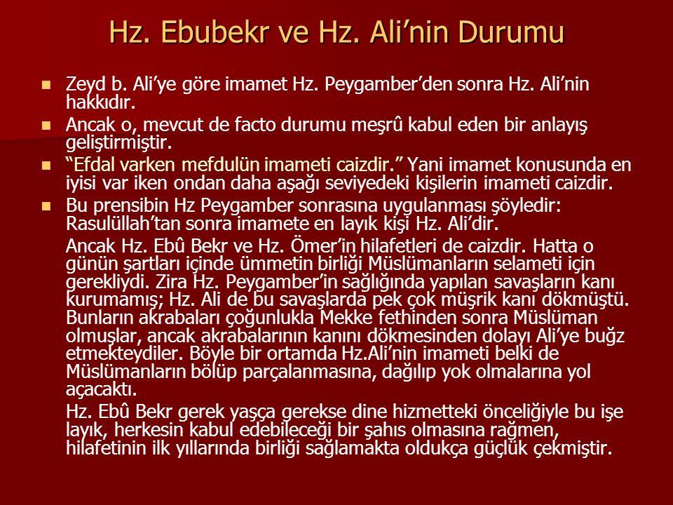 Hz. Ebubekr ve Hz. Ali'nin Durumu Zeyd b. Ali'ye göre imamet Hz. Peygamber'den sonra Hz. Ali'nin hakkıdır. Ancak o, mevcut de facto durumu meşrû kabul
