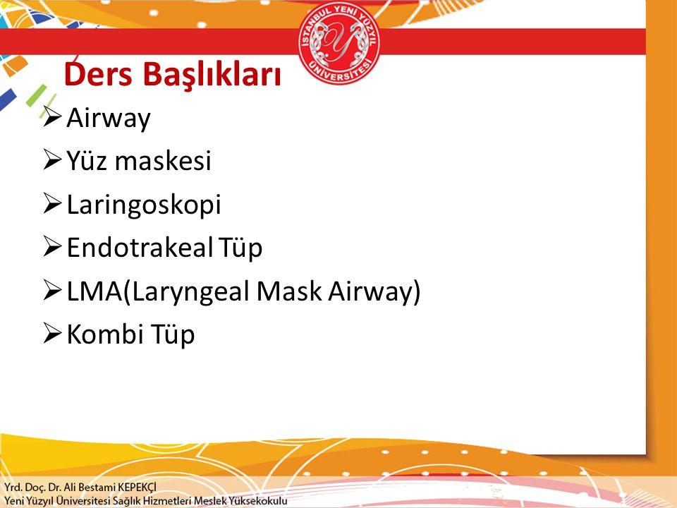 Ders Başlıkları  Airway  Yüz maskesi  Laringoskopi  Endotrakeal Tüp  LMA(Laryngeal Mask Airway)  Kombi Tüp