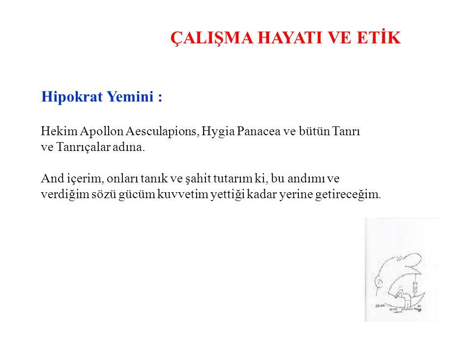 ÇALIŞMA HAYATI VE ETİK Hipokrat Yemini : Hekim Apollon Aesculapions, Hygia Panacea ve bütün Tanrı ve Tanrıçalar adına.