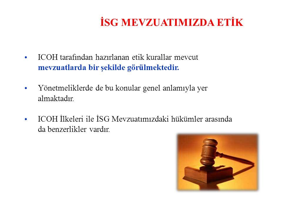 İSG MEVZUATIMIZDA ETİK ICOH tarafından hazırlanan etik kurallar mevcut mevzuatlarda bir şekilde görülmektedir.