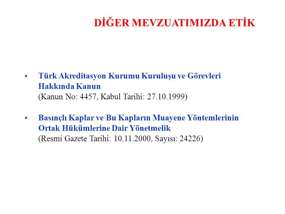 DİĞER MEVZUATIMIZDA ETİK Türk Akreditasyon Kurumu Kuruluşu ve Görevleri Hakkında Kanun (Kanun No: 4457, Kabul Tarihi: 27.10.1999) Basınçlı Kaplar ve Bu Kapların Muayene Yöntemlerinin Ortak Hükümlerine Dair Yönetmelik (Resmi Gazete Tarihi: 10.11.2000, Sayısı: 24226)