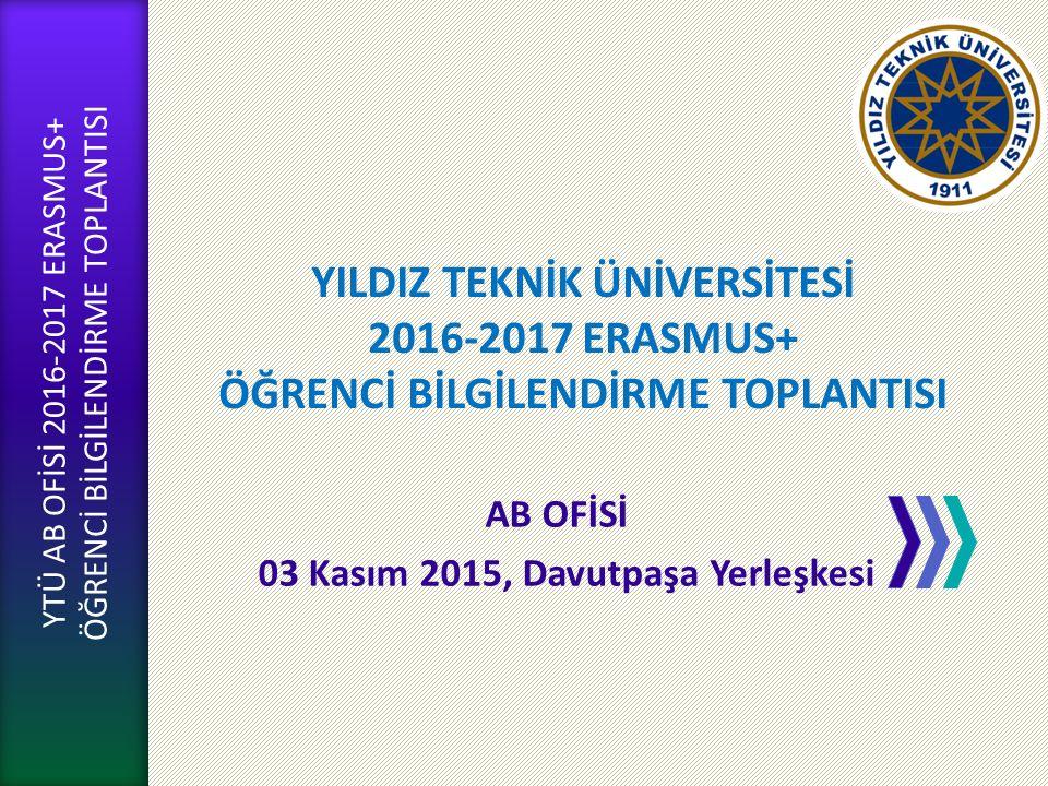 YTÜ AB OFİSİ GÜNDEM AB Ofisi Yapılanma Erasmus+ Yükseköğrenim Hareketliliği Faaliyetleri Giden Öğrenci Hareketliliği - Süreçler KİMO-Merlon Yazılımı Yabancı Dil Sınavı Hibeli-Hibesiz Öğrenci AB Ofisi Web Sitesi Soru & Cevap YTÜ AB OFİSİ 2016-2017 ERASMUS+ ÖĞRENCİ BİLGİLENDİRME TOPLANTISI