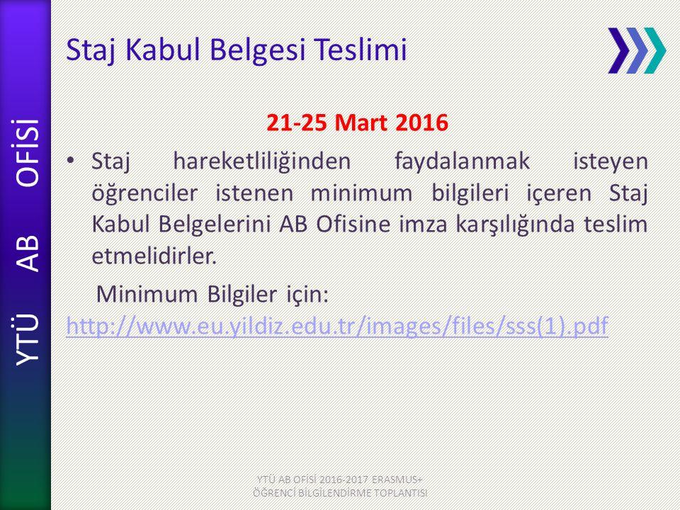 YTÜ AB OFİSİ Staj Kabul Belgesi Teslimi 21-25 Mart 2016 Staj hareketliliğinden faydalanmak isteyen öğrenciler istenen minimum bilgileri içeren Staj Kabul Belgelerini AB Ofisine imza karşılığında teslim etmelidirler.
