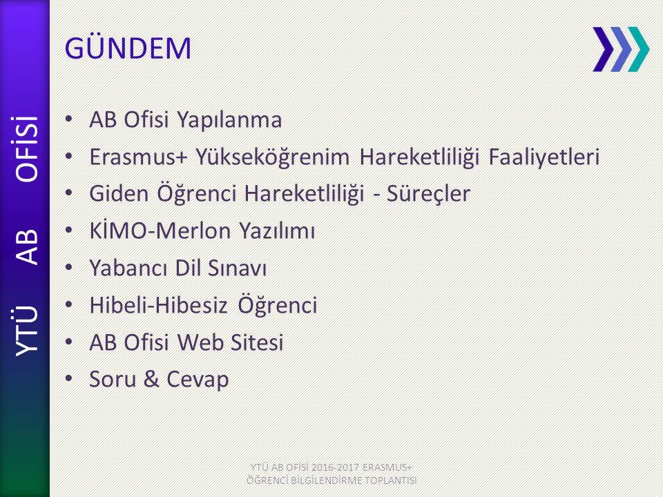 YTÜ AB OFİSİ YTÜ AB OFİSİ 2016-2017 ERASMUS+ ÖĞRENCİ BİLGİLENDİRME TOPLANTISI ERASMUS ÜST KURULU Rektör Prof.