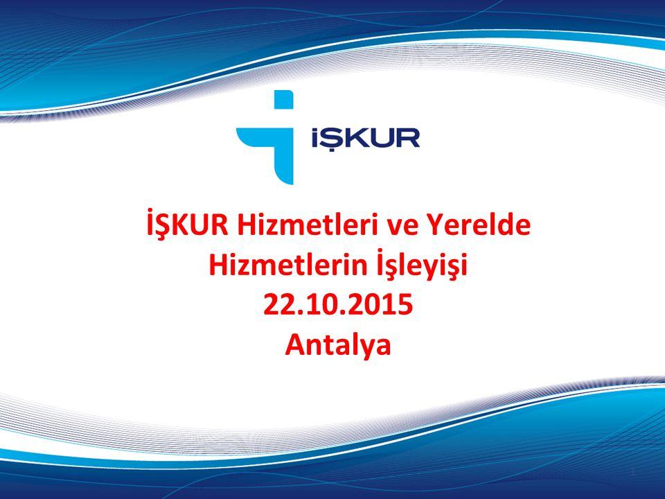İŞKUR Hizmetleri ve Yerelde Hizmetlerin İşleyişi 22.10.2015 Antalya 1