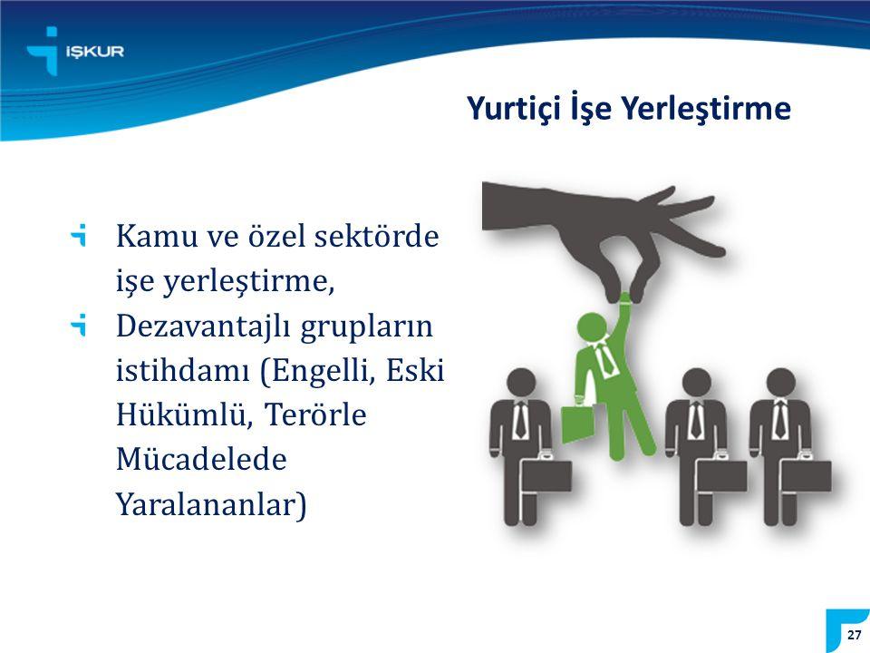 Kamu ve özel sektörde işe yerleştirme, Dezavantajlı grupların istihdamı (Engelli, Eski Hükümlü, Terörle Mücadelede Yaralananlar) Yurtiçi İşe Yerleştirme 27