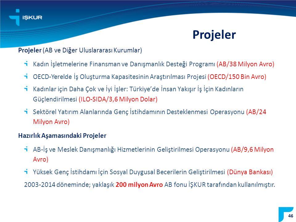 Projeler Projeler (AB ve Diğer Uluslararası Kurumlar) Kadın İşletmelerine Finansman ve Danışmanlık Desteği Programı (AB/38 Milyon Avro) OECD-Yerelde İş Oluşturma Kapasitesinin Araştırılması Projesi (OECD/150 Bin Avro) Kadınlar için Daha Çok ve İyi İşler: Türkiye'de İnsan Yakışır İş İçin Kadınların Güçlendirilmesi (ILO-SIDA/3,6 Milyon Dolar) Sektörel Yatırım Alanlarında Genç İstihdamının Desteklenmesi Operasyonu (AB/24 Milyon Avro) Hazırlık Aşamasındaki Projeler AB-İş ve Meslek Danışmanlığı Hizmetlerinin Geliştirilmesi Operasyonu (AB/9,6 Milyon Avro) Yüksek Genç İstihdamı İçin Sosyal Duygusal Becerilerin Geliştirilmesi (Dünya Bankası) 2003-2014 döneminde; yaklaşık 200 milyon Avro AB fonu İŞKUR tarafından kullanılmıştır.
