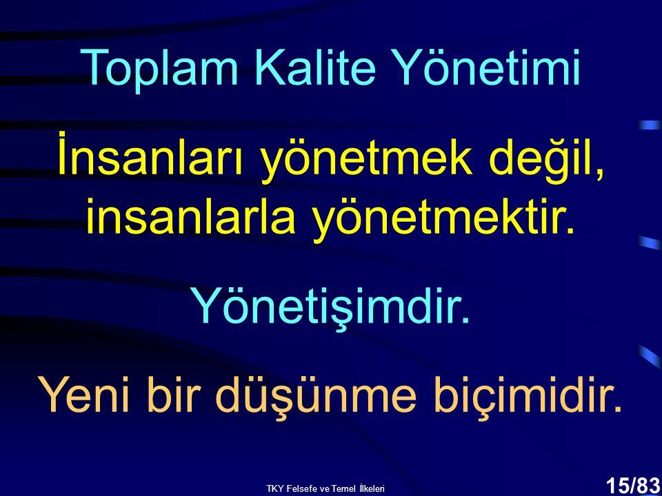TKY Felsefe ve Temel İlkeleri 14/83 Toplam Kalite Yönetimi Kuruluşa sistem bütünlüğü içinde yaklaşmayı, Paylaşılan vizyon oluşturmaya dayalı liderliği