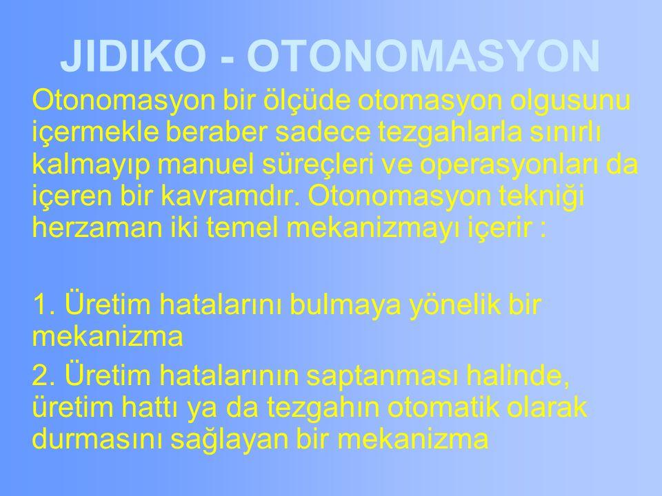 JIDIKO - OTONOMASYON Otonomasyon bir ölçüde otomasyon olgusunu içermekle beraber sadece tezgahlarla sınırlı kalmayıp manuel süreçleri ve operasyonları