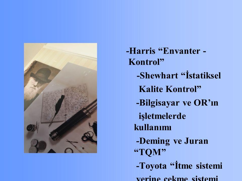 -Harris Envanter - Kontrol -Shewhart İstatiksel Kalite Kontrol -Bilgisayar ve OR'ın işletmelerde kullanımı -Deming ve Juran TQM -Toyota İtme sistemi yerine çekme sistemi JİT - Esnek ve Robotik Sistemler