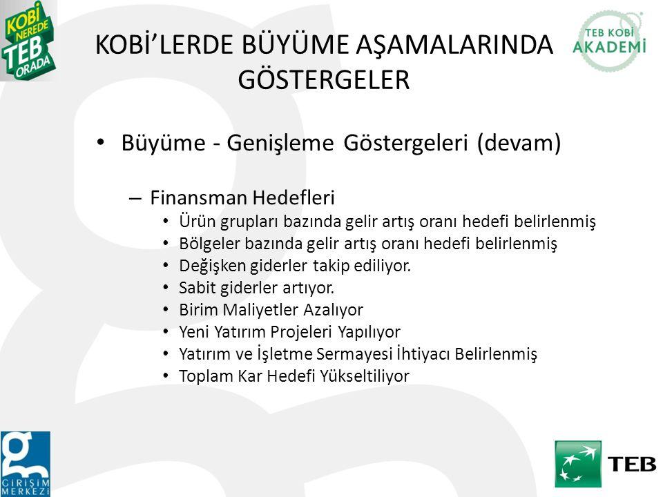 KOBİ'LERDE BÜYÜME-GENİŞLEME AŞAMASI BÜYÜME SENARYOSU