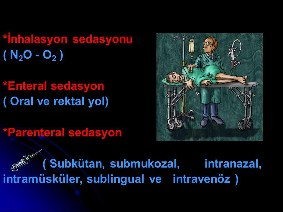 *İnhalasyon sedasyonu ( N 2 O - O 2 ) *Enteral sedasyon ( Oral ve rektal yol) *Parenteral sedasyon ( Subkütan, submukozal, intranazal, intramüsküler,
