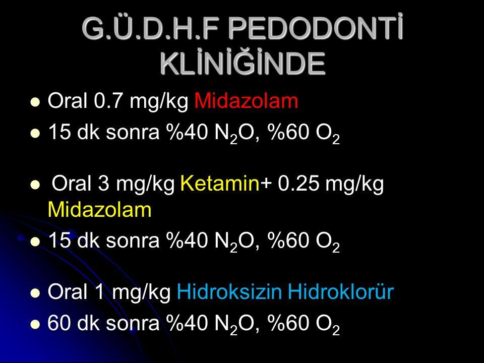 G.Ü.D.H.F PEDODONTİ KLİNİĞİNDE Oral 0.7 mg/kg Midazolam Oral 0.7 mg/kg Midazolam 15 dk sonra %40 N 2 O, %60 O 2 15 dk sonra %40 N 2 O, %60 O 2 Oral 3