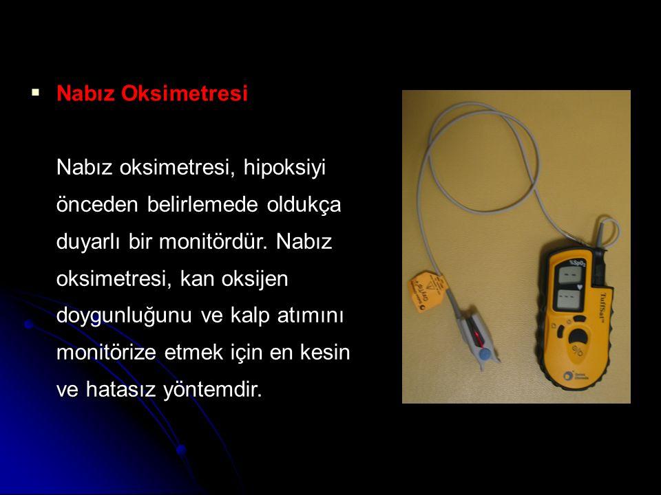  Nabız Oksimetresi Nabız oksimetresi, hipoksiyi önceden belirlemede oldukça duyarlı bir monitördür. Nabız oksimetresi, kan oksijen doygunluğunu ve ka