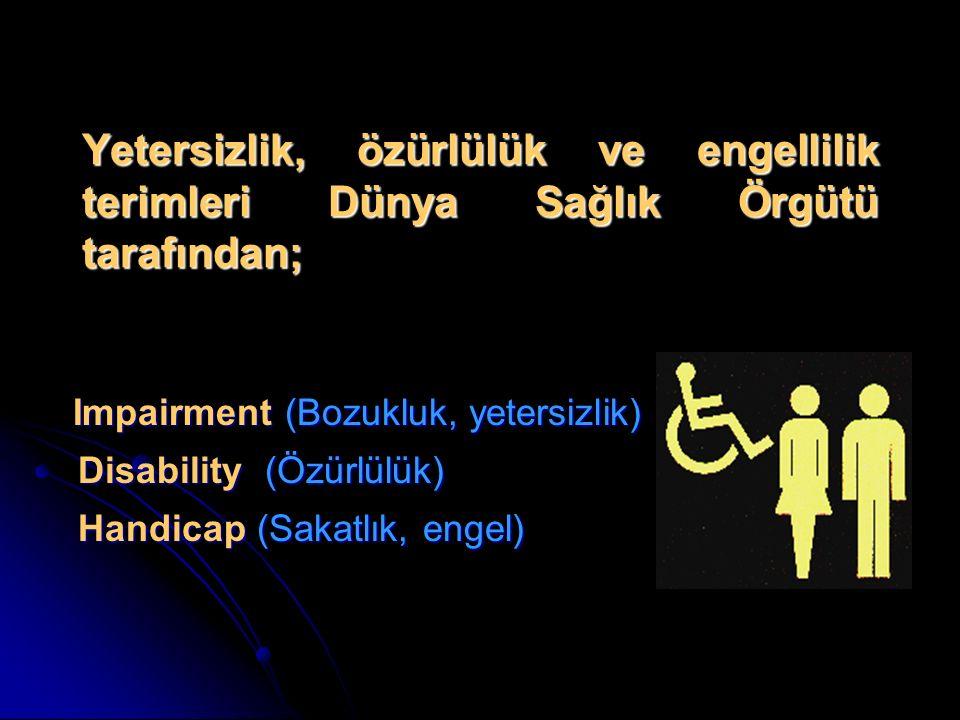 Impairment (Bozukluk, yetersizlik) Disability (Özürlülük) Handicap (Sakatlık, engel) Impairment (Bozukluk, yetersizlik) Disability (Özürlülük) Handica