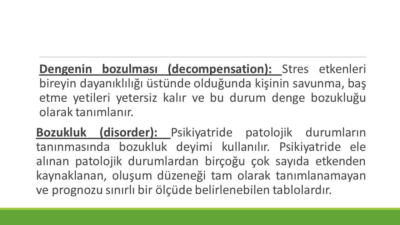 Dengenin bozulması (decompensation): Stres etkenleri bireyin dayanıklılığı üstünde olduğunda kişinin savunma, baş etme yetileri yetersiz kalır ve bu d
