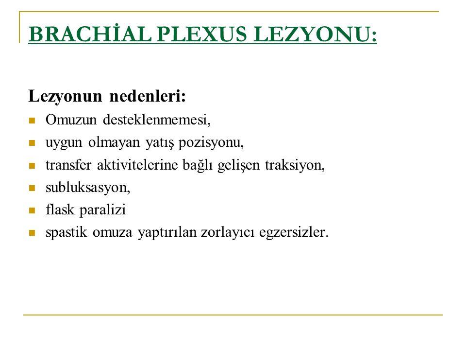 BRACHİAL PLEXUS LEZYONU: Lezyonun nedenleri: Omuzun desteklenmemesi, uygun olmayan yatış pozisyonu, transfer aktivitelerine bağlı gelişen traksiyon, s