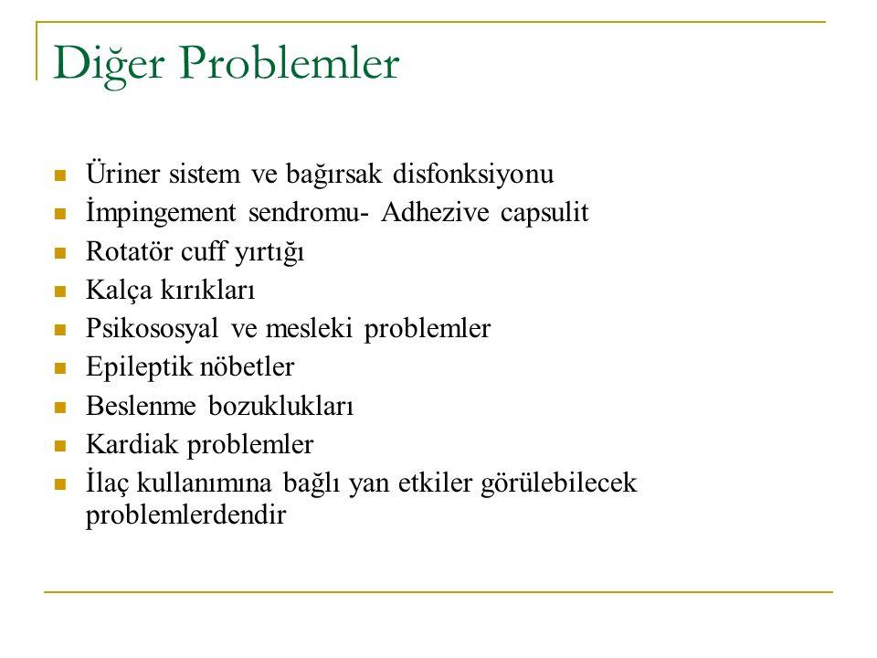 Diğer Problemler Üriner sistem ve bağırsak disfonksiyonu İmpingement sendromu- Adhezive capsulit Rotatör cuff yırtığı Kalça kırıkları Psikososyal ve m