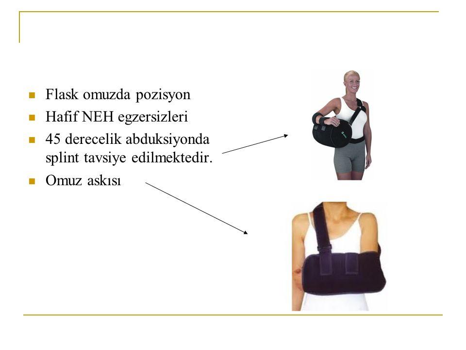 Flask omuzda pozisyon Hafif NEH egzersizleri 45 derecelik abduksiyonda splint tavsiye edilmektedir. Omuz askısı
