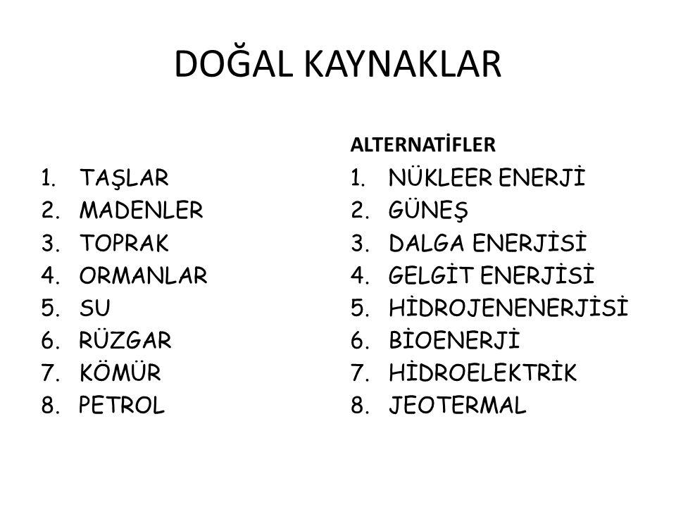 DOĞAL KAYNAKLAR 1.TAŞLAR 2.MADENLER 3.TOPRAK 4.ORMANLAR 5.SU 6.RÜZGAR 7.KÖMÜR 8.PETROL ALTERNATİFLER 1.NÜKLEER ENERJİ 2.GÜNEŞ 3.DALGA ENERJİSİ 4.GELGİ