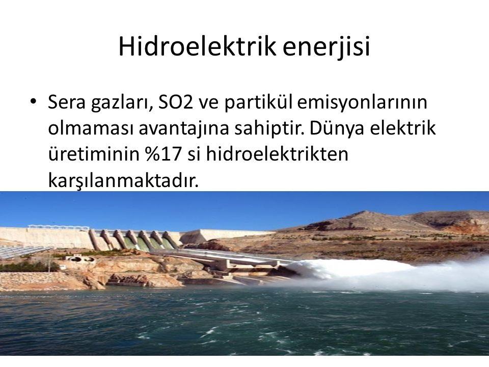 Hidroelektrik enerjisi Sera gazları, SO2 ve partikül emisyonlarının olmaması avantajına sahiptir. Dünya elektrik üretiminin %17 si hidroelektrikten ka