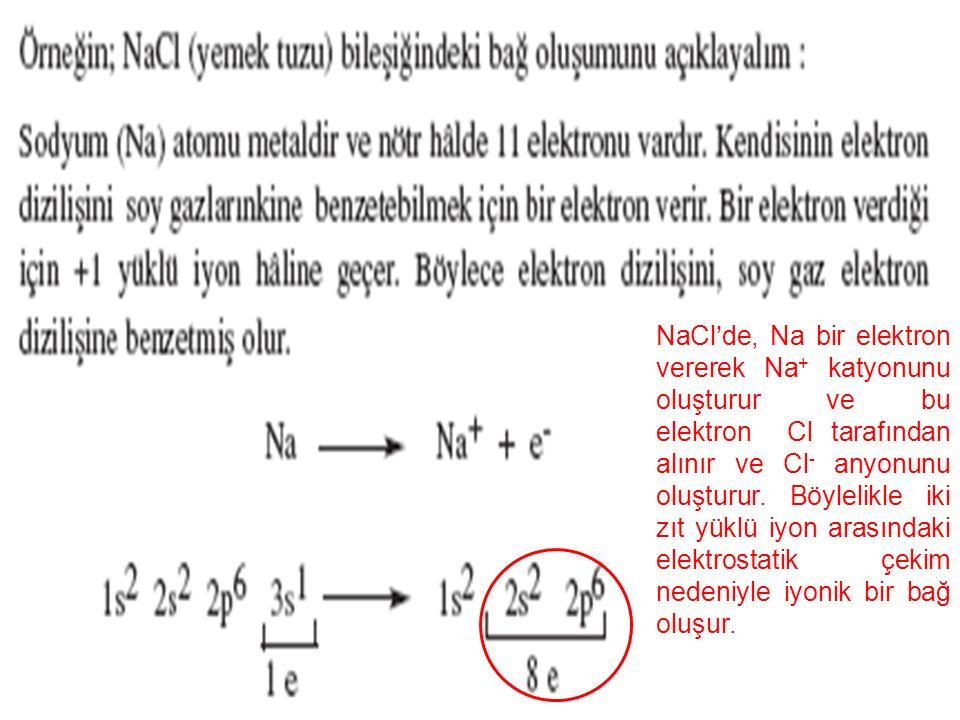 10 NaCl'de, Na bir elektron vererek Na + katyonunu oluşturur ve bu elektron Cl tarafından alınır ve Cl - anyonunu oluşturur.