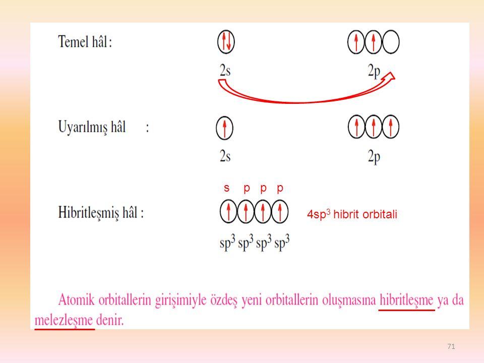 71 4sp 3 hibrit orbitali s p p p