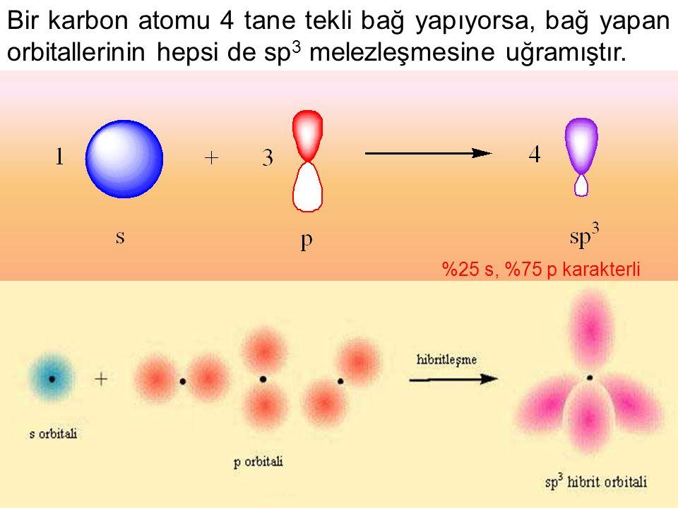 Bir karbon atomu 4 tane tekli bağ yapıyorsa, bağ yapan orbitallerinin hepsi de sp 3 melezleşmesine uğramıştır.
