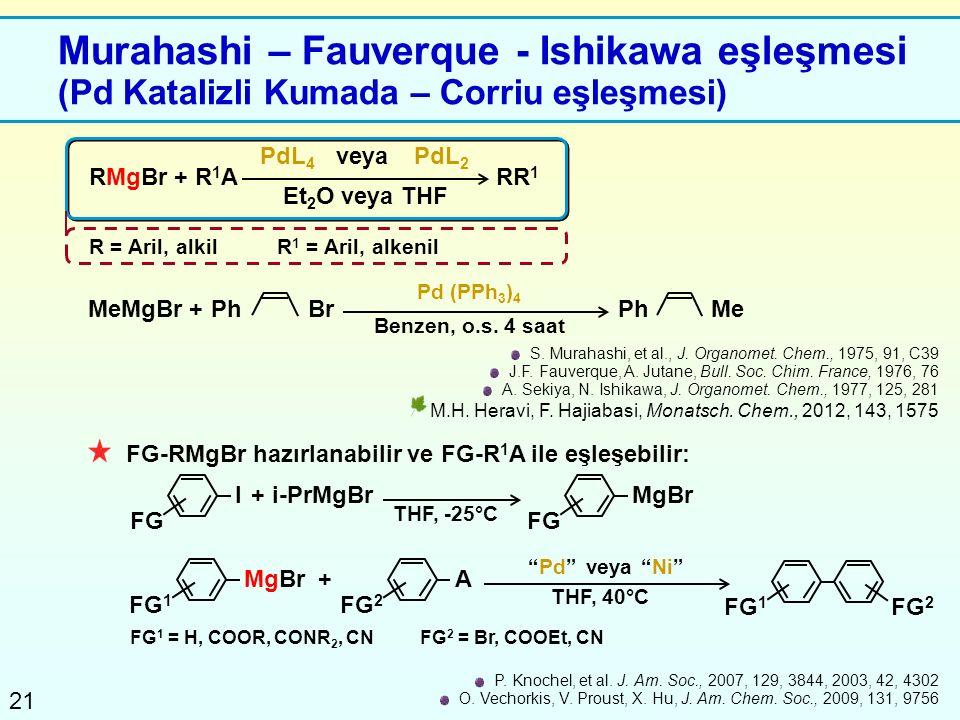 21 Murahashi – Fauverque - Ishikawa eşleşmesi (Pd Katalizli Kumada – Corriu eşleşmesi) RMgBr + R 1 A PdL 4 veyaPdL 2 Et 2 O veya THF R = Aril, alkilR