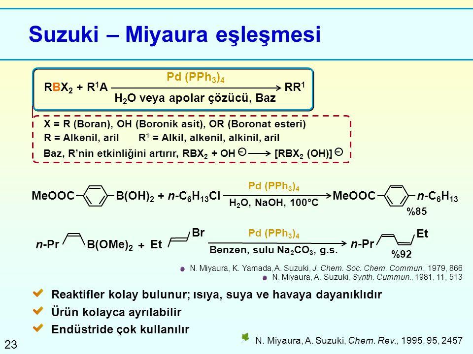 23 Suzuki – Miyaura eşleşmesi RBX 2 + R 1 A Pd (PPh 3 ) 4 X = R (Boran), OH (Boronik asit), OR (Boronat esteri) R = Alkenil, arilR 1 = Alkil, alkenil,