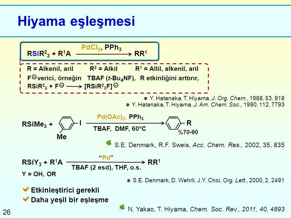 26 Hiyama eşleşmesi RSiR 2 3 + R 1 A PdCl 2, PPh 3 R = Alkenil, arilR 2 = AlkilR 1 = Allil, alkenil, aril RR 1 N. Yakao, T. Hiyama, Chem. Soc. Rev., 2