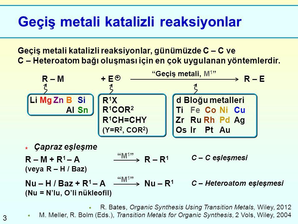 3 Geçiş metali katalizli reaksiyonlar Geçiş metali katalizli reaksiyonlar, günümüzde C – C ve C – Heteroatom bağı oluşması için en çok uygulanan yönte