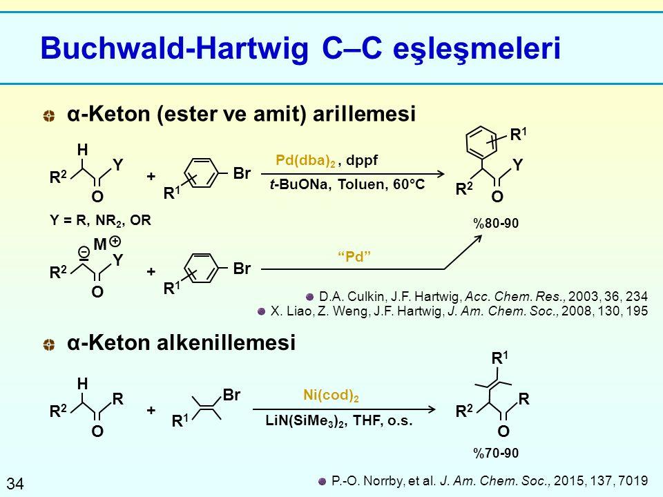 34 Buchwald-Hartwig C–C eşleşmeleri D.A. Culkin, J.F. Hartwig, Acc. Chem. Res., 2003, 36, 234 X. Liao, Z. Weng, J.F. Hartwig, J. Am. Chem. Soc., 2008,