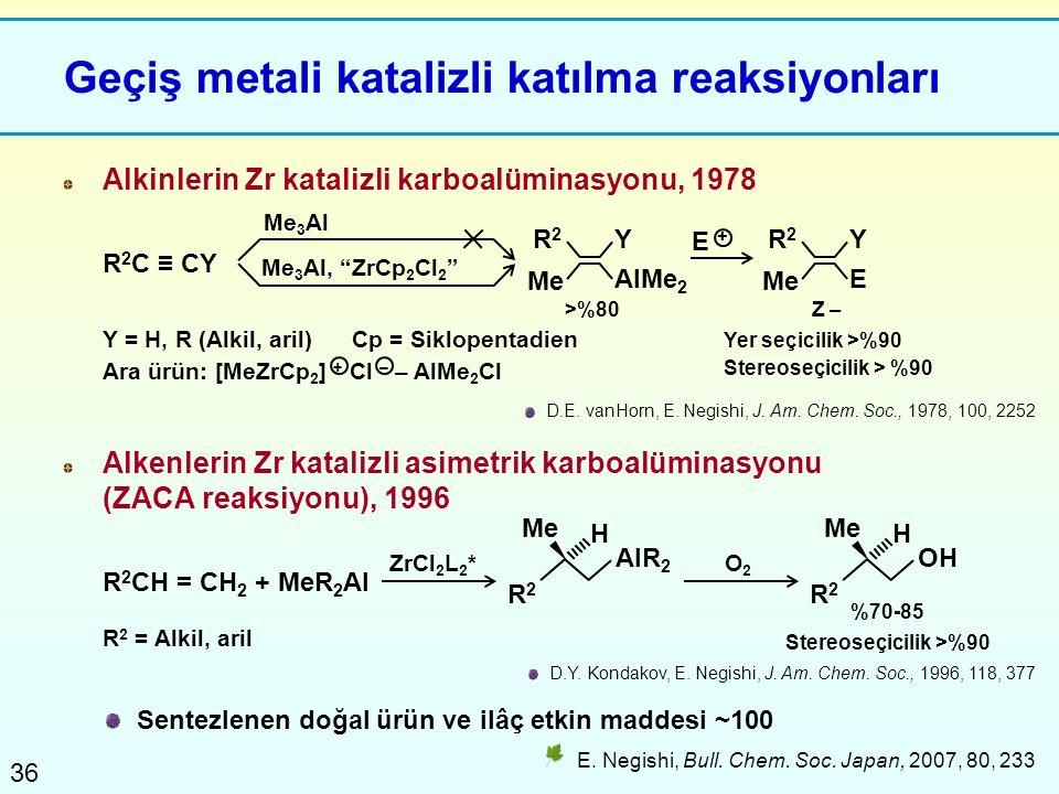 36 Geçiş metali katalizli katılma reaksiyonları E. Negishi, Bull. Chem. Soc. Japan, 2007, 80, 233 Sentezlenen doğal ürün ve ilâç etkin maddesi ~100 D.