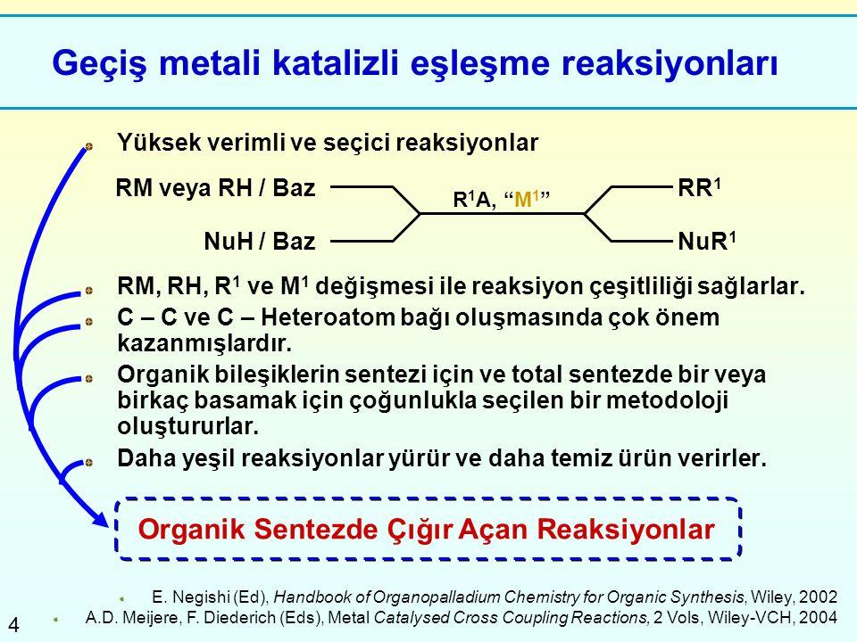 4 Geçiş metali katalizli eşleşme reaksiyonları Yüksek verimli ve seçici reaksiyonlar RM, RH, R 1 ve M 1 değişmesi ile reaksiyon çeşitliliği sağlarlar.