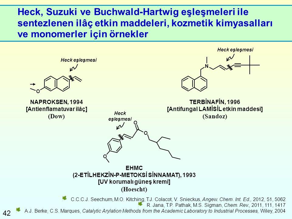42 Heck, Suzuki ve Buchwald-Hartwig eşleşmeleri ile sentezlenen ilâç etkin maddeleri, kozmetik kimyasalları ve monomerler için örnekler C.C.C.J. Seech