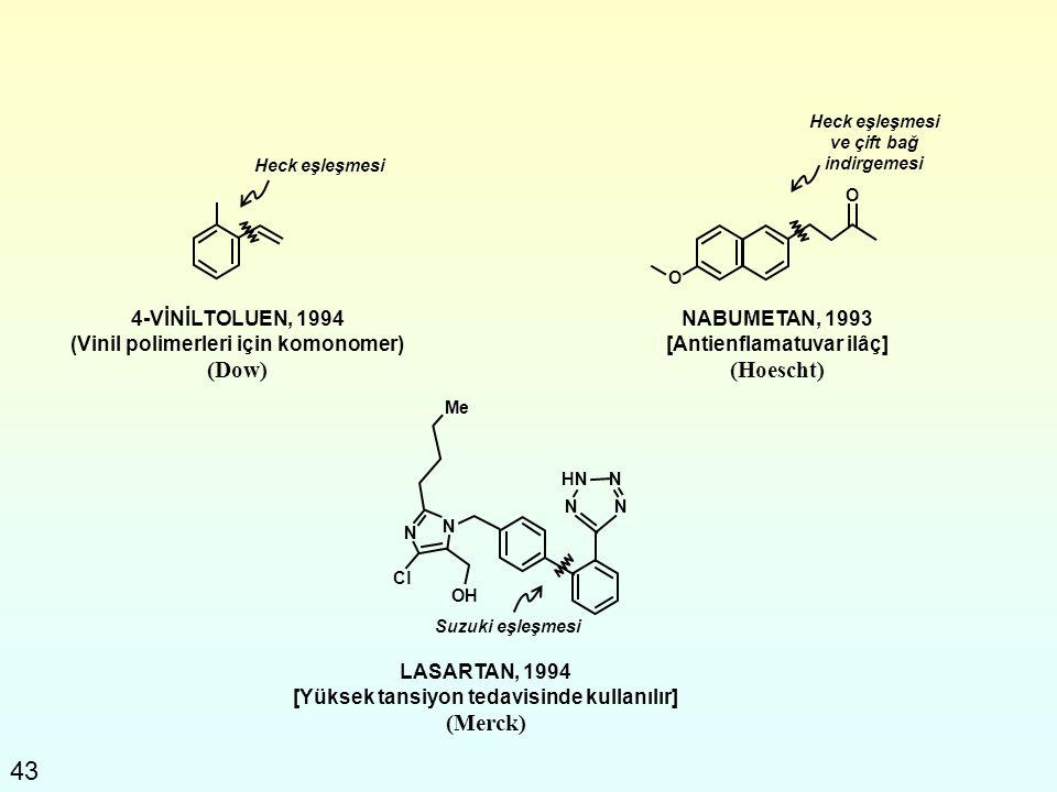 43 4-VİNİLTOLUEN, 1994 (Vinil polimerleri için komonomer) (Dow) NABUMETAN, 1993 [Antienflamatuvar ilâç] (Hoescht) LASARTAN, 1994 [Yüksek tansiyon teda
