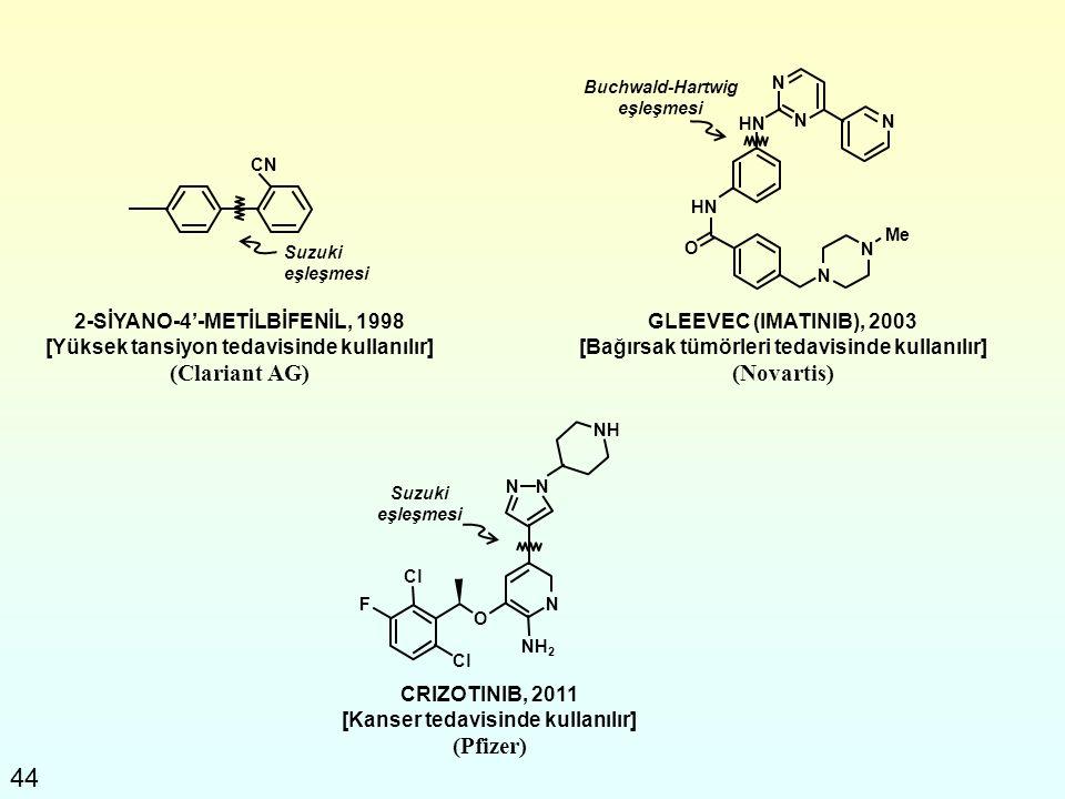 44 2-SİYANO-4'-METİLBİFENİL, 1998 [Yüksek tansiyon tedavisinde kullanılır] (Clariant AG) GLEEVEC (IMATINIB), 2003 [Bağırsak tümörleri tedavisinde kull
