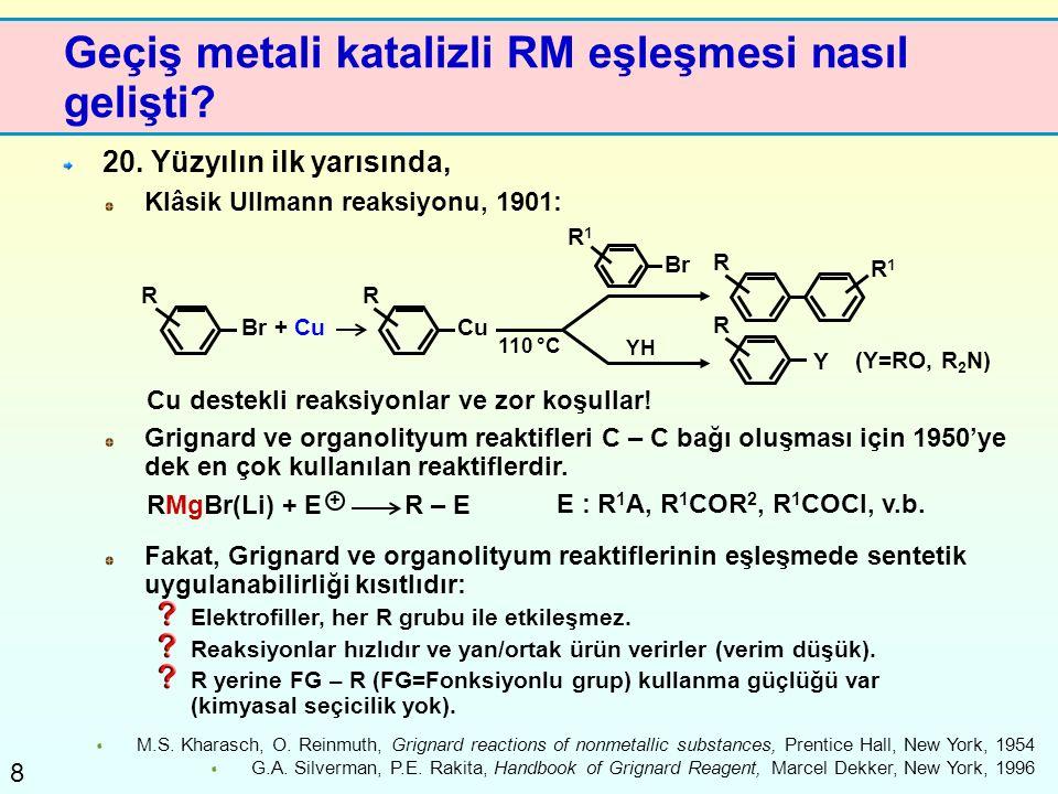 8 Geçiş metali katalizli RM eşleşmesi nasıl gelişti? 20. Yüzyılın ilk yarısında, Klâsik Ullmann reaksiyonu, 1901: M.S. Kharasch, O. Reinmuth, Grignard