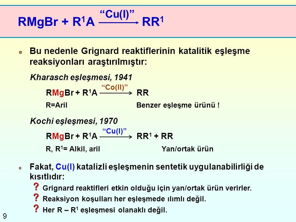 9 RMgBr + R 1 A Bu nedenle Grignard reaktiflerinin katalitik eşleşme reaksiyonları araştırılmıştır: RMgBr + R 1 ARR Benzer eşleşme ürünü ! Fakat, Cu(I