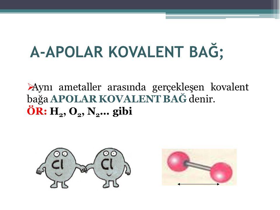 A-APOLAR KOVALENT BAĞ;  Aynı ametaller arasında gerçekleşen kovalent bağa APOLAR KOVALENT BAĞ denir. ÖR: H 2, O 2, N 2... gibi